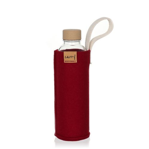 CARRY Sleeve bordeauxrot für 700ml Glastrinkflasche