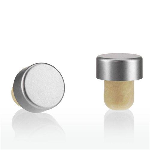 Tappo in sughero con piano in argento/laccato opaco TIPO M