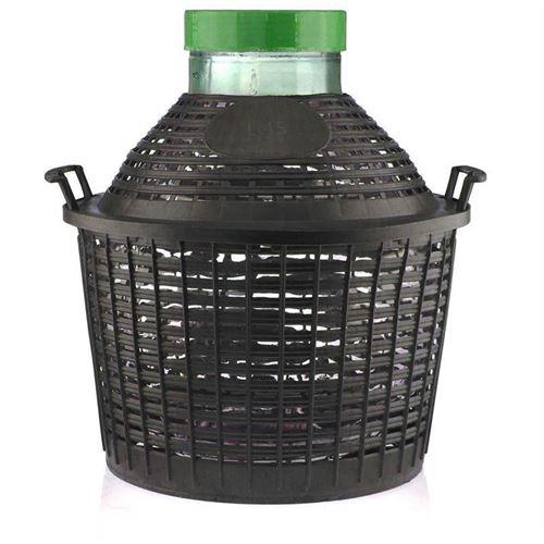 Damigiana collo largo da 15 litri con cesto in plastica