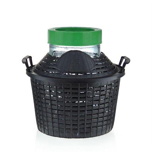 Damigiana collo largo da 5 litri con cesto in plastica