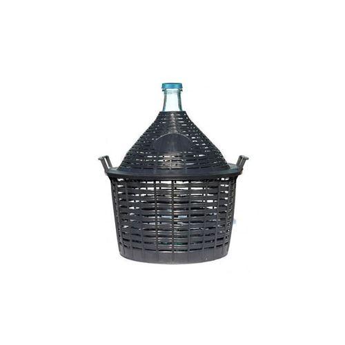 Damigiana da 20 litri con cesto in plastica