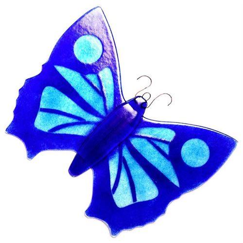 Mariposa de vidrio decorativa azul