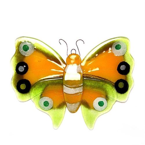 Dekorativer Schmetterling aus Glas, Gelb/Orange