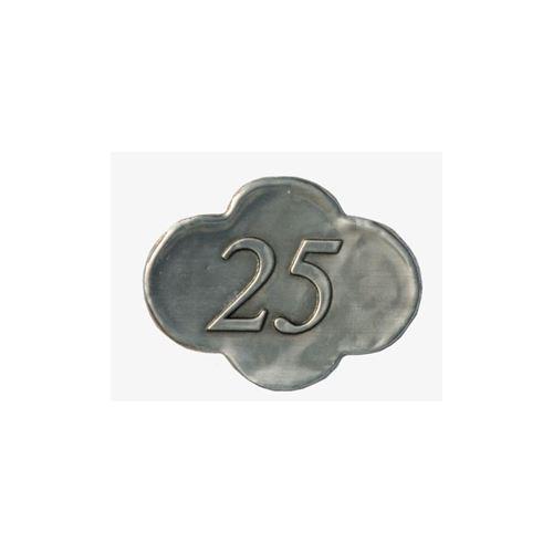 """Etichetta in metallo """"25"""""""