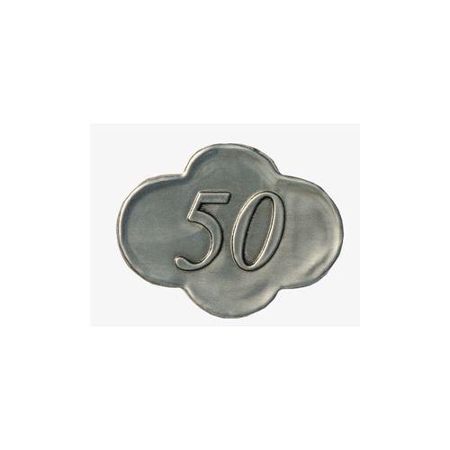 """Etichetta in metallo """"50"""""""