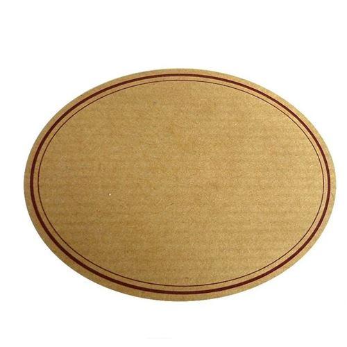 Etichetta ovale naturale con bordo rosso-grande