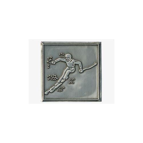 "Étiquette en métal ""ski alpin"""