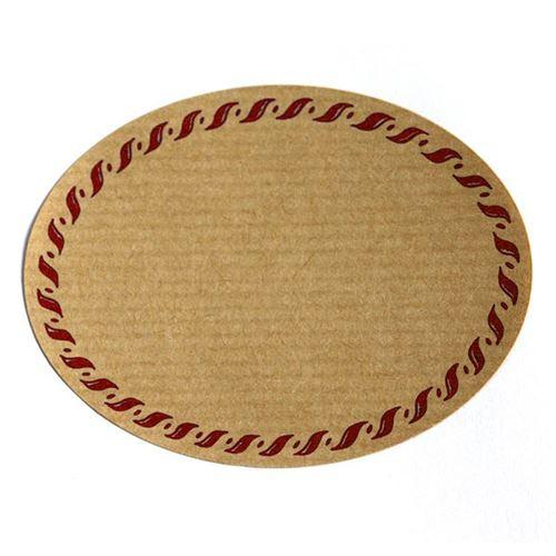 """Etiquette nature """"ovale"""" avec bord corde rouge"""