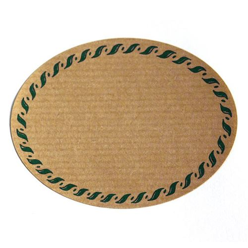 "Etiquette nature ""ovale"" avec bord corde verte"