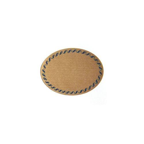 Étiquette ovale avec bordure bleue - petit