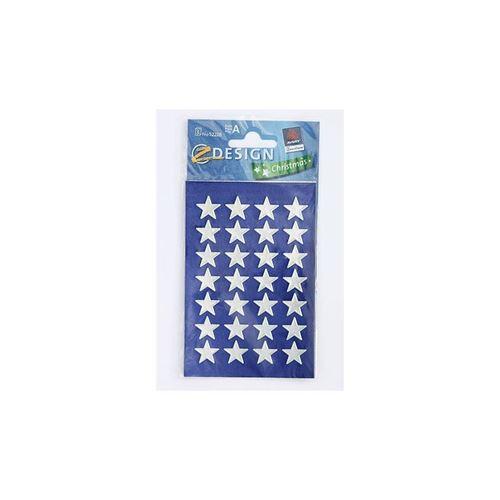 Étiquettes de Noel étoiles - métallique argenté