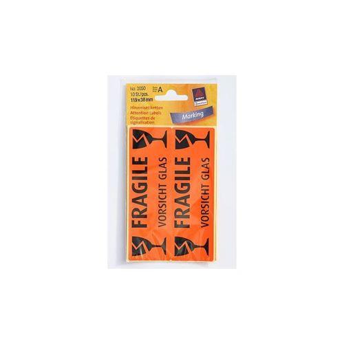 Étiquettes fragile - vorsicht glas