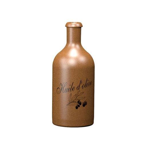 """500ml bouteille en grès brun-cris. """"Huile d'olive"""""""