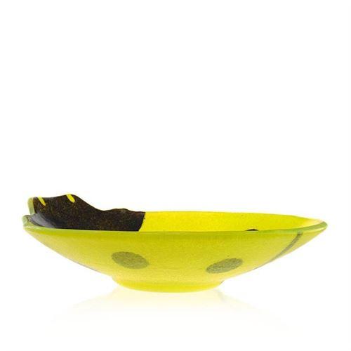 Glazen schaal Lieveheersbeestje geel