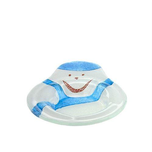 "Tazón de vidrio ""Muñeco de nieve azul"""