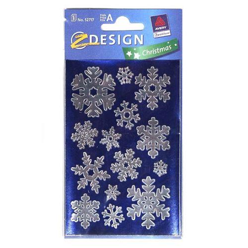 Kerst etiketten snow / silver metallic