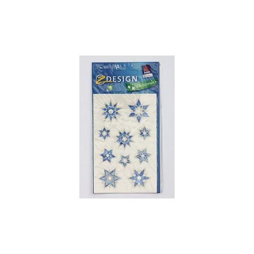Kerst etiketten sterren - blauw metallic