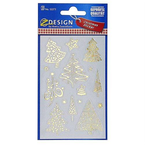 "Kerstetiketten - ""Gouden bomen"""