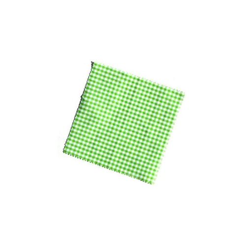 Lille stofdug, lysegrøn/ternet, 12x12cm, inkl. tekstilsløjfe