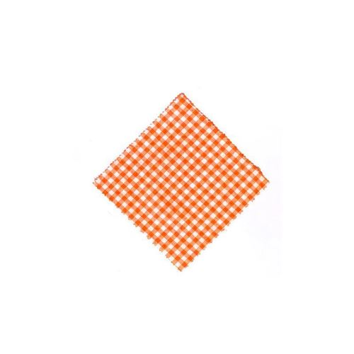 Lille stofdug, orangeternet, 15x15cm, inkl. tekstilsløjfe
