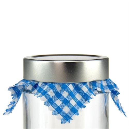 Marmalade jar napkin check petrol 12x12cm incl. textile bow