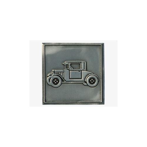 Metal label vintage car