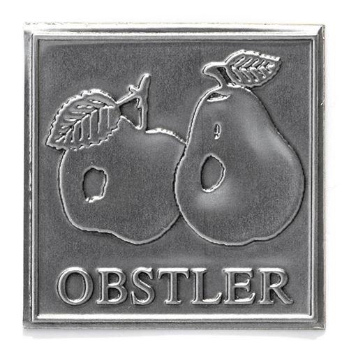 """Metalletikett """"Obstler"""""""