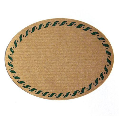 "Naturetikett ""oval"" mit grünem Kordelrand"
