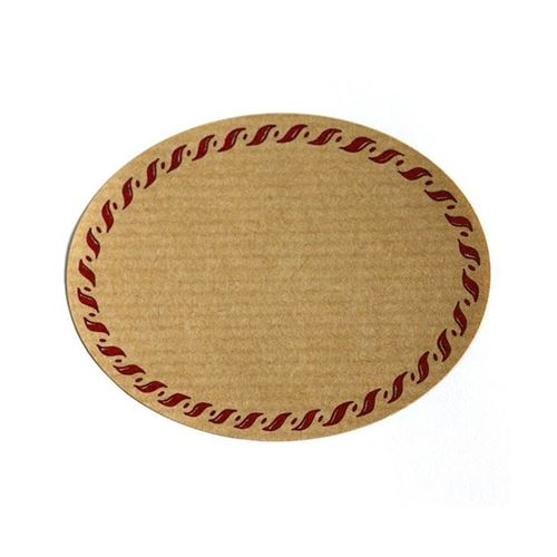 Oval, naturfarvet etiket med rød rand, lille