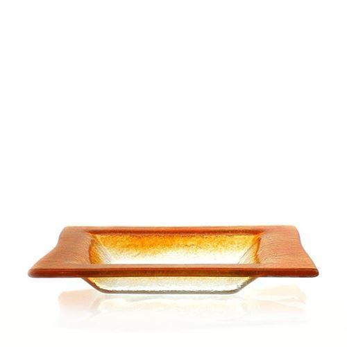 "Firkantet skål i glas ""Quadrato arancio"""