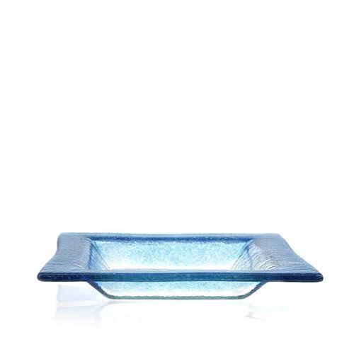 """Firkantet skål i glas """"Quadrato blu"""""""