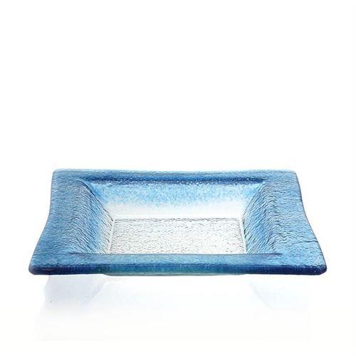 """Rechthoekige glazen schaal """"Quadrato blu"""""""