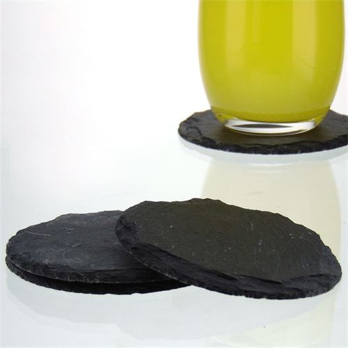 Round Coasters made of slate (4 pices-set)