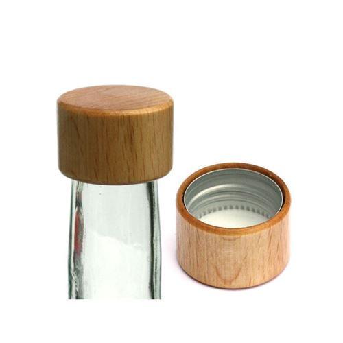 Decoratieve schroefdeksel PP28 zilver iin echt hout