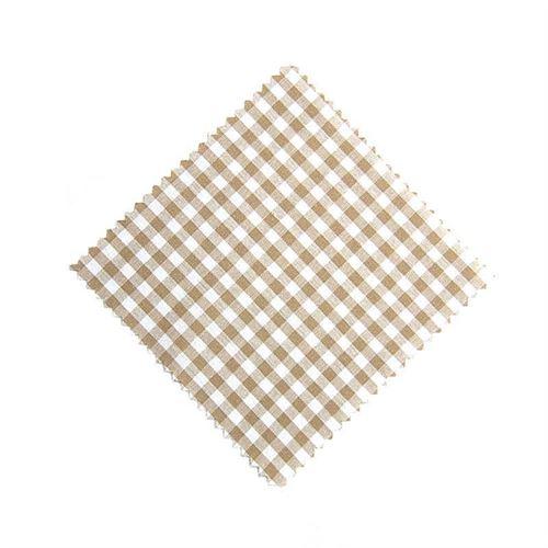Servietta in stoffa a scacchi beige 12cmx12cm con nastro in tessuto