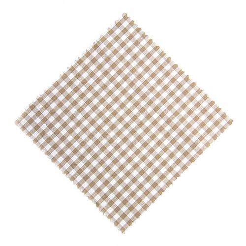 Servietta in stoffa a scacchi beige 15cmx15cm con nastro in tessuto