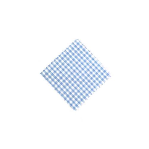 Servietta in stoffa a scacchi celeste 12cmx12cm con nastro in tessuto