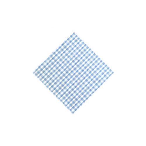 Servietta in stoffa a scacchi celeste 15cmx15cm con nastro in tessuto