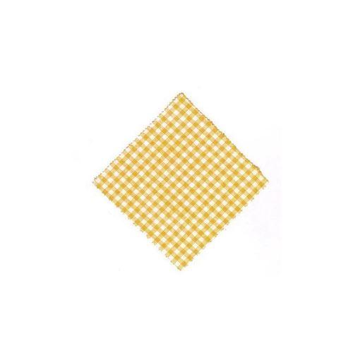 Servietta in stoffa a scacchi giallo 12cmx12cm con nastro in tessuto