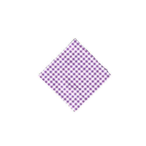 Servietta in stoffa a scacchi lilla 15cmx15cm con nastro in tessuto