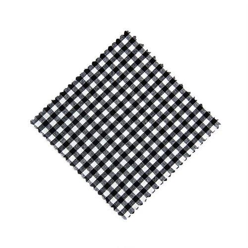 Servietta in stoffa a scacchi nero 12cmx12cm con nastro in tessuto