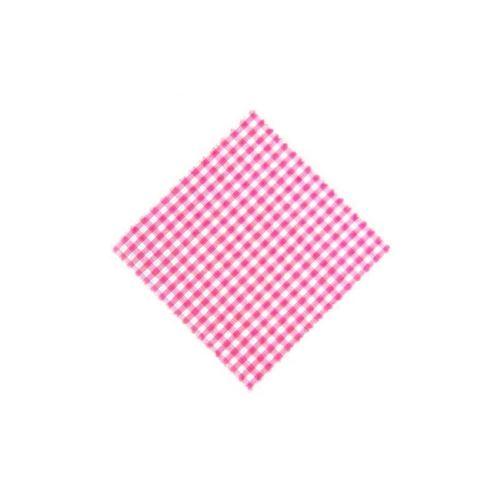 Servietta in stoffa a scacchi rosa 15cmx15cm con nastro in tessuto