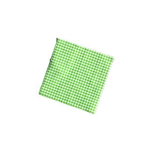 Servietta in stoffa a scacchi verde pastello 12cmx12cm con nastro in tessuto