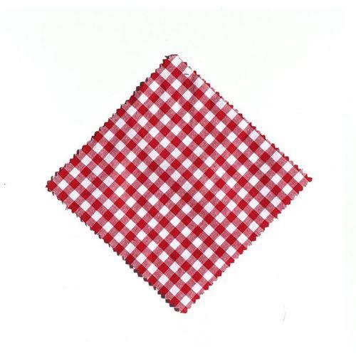 Serwetka z materiału, 12x12cm, czerwona karo, z wstążką
