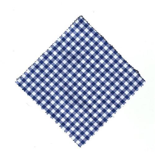 Serwetka z materiału, 12x12cm, niebieska karo, z wstążką