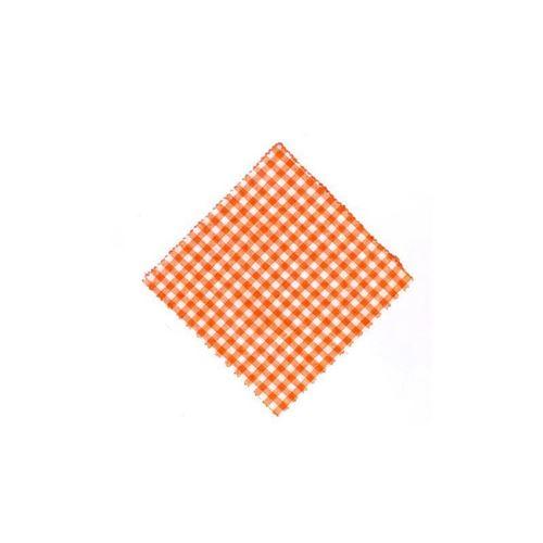 Serwetka z materiału, 15x15cm, pomarańczowa karo, z wstążką