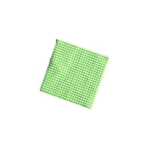 Serwetka z materiału, 15x15cm, zielona karo, z wstążką