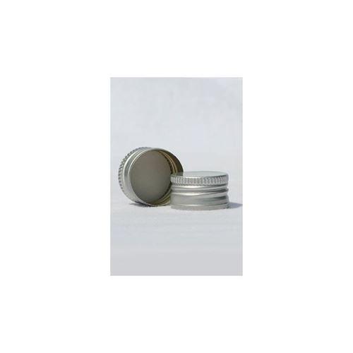 Skruelåg PP28 med gevind, sølvfarvet