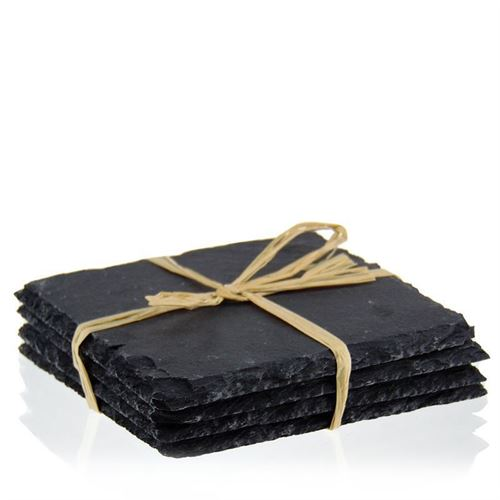 Square Coasters made of slate (4 pices-set)