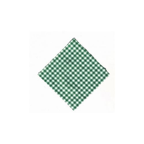 Stof overlapje karo-donkelgroen 12x12cm inkl. textiel lus